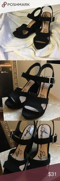 American Rag wedge Worn once, super chic with jeans or a dress. Pair em with your outfits for spring or summer. American Rag Shoes Wedges