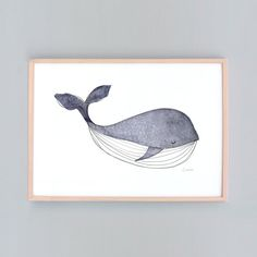 Small to Large Art Print Whale Nursery Baby Wall Art by honeycup