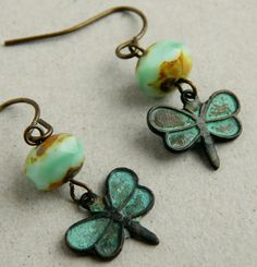Dragonfly earrings  verdigris patina  dragonfly by FleetwoodandCo, $16.00