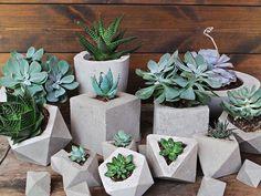 Concrete Planter Geometric Style Handmade by IndustrialRepublic