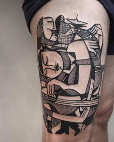 Vibrant Tattoos by Peter Aurisch Incorporate Elements of Cubism and the Natural World