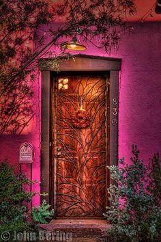 Fuchsia Pink Door and Entrance / Photograph Chili Door by John Bering on Cool Doors, The Doors, Unique Doors, Windows And Doors, Front Doors, Grand Entrance, Entrance Doors, Doorway, Knobs And Knockers