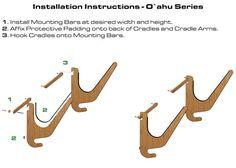 SUP Rack Installation Instructions - Bamboo Paddleboard Rack by Grassracks Surfboard Rack, Ski Rack, Wood Grain Texture, Bamboo Wall, Wall Racks, Installation Instructions, Wakeboarding, Paddle Boarding, Wall Mount