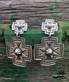 D. Cadman Navajo Sterling Silver Stamped Cross Earrings