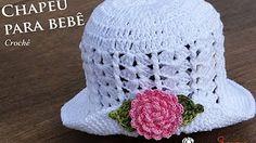 cee0e8689e965 Sombrero con flor para bebé de 5 meses tejido a crochet paso a paso en  puntos abanicos