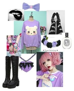 """""""Kawaii gothic #3"""" by blu3k1tty ❤ liked on Polyvore featuring beauty and Diptyque"""