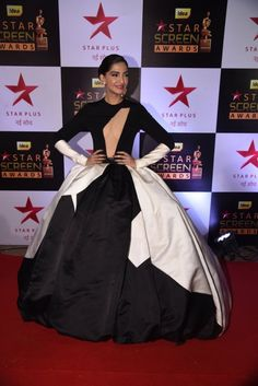 Sonam Kapoor attended the Star Screen Awards 2016 in a monochrome Stephane  Rolland gown bb1332e46