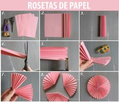 Diy Paper Rosettes Large Baby Shower Ideas For 2019 Bridal Shower Decorations, Paper Decorations, Paper Wall Decor, Diy And Crafts, Paper Crafts, Diy Papier, Diy Party, Party Ideas, Diy Tutorial