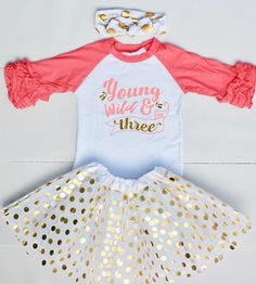 This 3rd Birthday Outfit is too cute to get your little girl ready for her big birthday!Your little one will get oohs and ahhs with this adorable toddler raglan