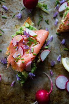 Avocado Toast with Smoked Salmon and radishes, gluten free