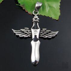 """Edelstahlanhänger """"Flügelkreuz""""    Farbe silber + schwarz, verziert mit einem Strass-Steinchen    *Der Preis bezieht sich auf den Anhänger alleine.*"""