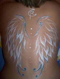 Amazing Simple White Ink Angel Wings Tattoo