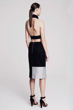 Josh Goot | Resort 2015 | 13 Monochrome checkered halter top and black/silver midi skirt with side slit (back)