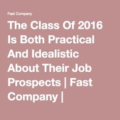 The Class Of 2016 Is Both Practical And Idealistic About Their Job Prospects | Fast Company | Business + Innovation