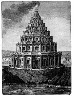 The Lighthouse of Alexandria - It was built between 280 and 247 BC on the island of Pharos to guide sailors into the port of Alexandria (Egypt).