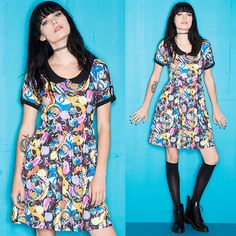 Show off your love of the Land of Ooo with this adorable Adventure Time dress from Cartoon Network and Hot Topic. The dazzling print features all your favorite characters including Finn, Jake, Princess Bubblegum, BMO, and even The Ice King.