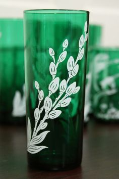 Pussy Willows on Forest Green tumbler 1950's