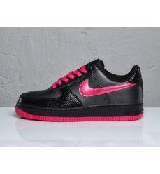 pretty nice f75e4 80cef Nike Air Force 1 Low (Basse) Chaussures Femme Noir Rose Vif-20 Pink