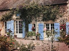 cottage with blue shutters in the french countryside French Country Cottage, French Country Style, French Farmhouse, French Country Decorating, Country Charm, Countryside Village, French Countryside, Small Cottages, Country Cottages