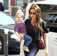 Victoria Beckham and little daughter wearing Little Marc Jacobs