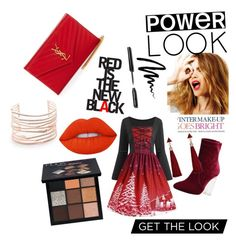 """forever red"" by tumbaga-a-c on Polyvore featuring Celestine, Lime Crime, Bobbi Brown Cosmetics, Yves Saint Laurent, Huda Beauty and Alexis Bittar"