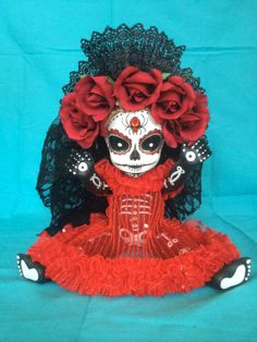 Margarita Gold is a OOAK  Day of the Dead baby by TheHeebieJeebiez, $125.00