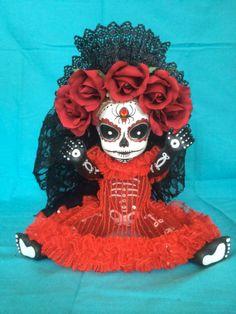 Margarita Gold is a OOAK  Day of the Dead baby by TheHeebieJeebiez, $125.00