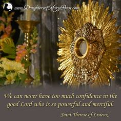 We can never have too much confidence in the good Lord who is so powerful and merciful.  #DaughtersofMary #DaughtersofMaryPress #Catholic #ReligiousSisters #SaintThereseofLisieux #confidence