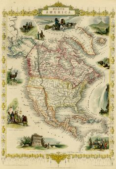 North America map Old map of America Fine print by AncientShades Vintage Maps, Antique Maps, Vintage Wall Art, Wallpapers Wallpapers, Scotland Map, North America Map, Map Globe, Old Maps, Old World Maps