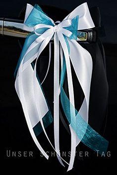 10 x Antennenschleife Autoschleife Autoschmuck Hochzeit weiß türkis petrol SCH0088