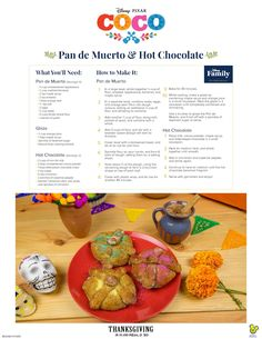 Disney*Pixar's COCO-Inspired Hot Chocolate & Pan de Muerto Recipes Disney Dishes, Disney Desserts, Disney Recipes, Disney Snacks, Thm Recipes, Disney Trips, Fall Recipes, Dessert Recipes, Pan De Muerto