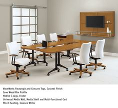 National Office Furniture - WaveWorks Tables, with Mix-it task/work seating in conference room area.