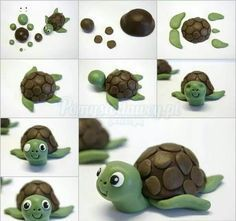 Creative Ideas - DIY Cute Fondant Turtle Cake Topping