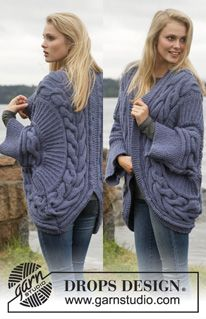 """Knitted DROPS jacket worked in a circle with cables in """"Alaska"""". Size: S - XXXL. ~ DROPS Design"""