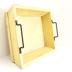 Yellow Wood Serving Tray Organizer for Kitchen Weddings Breakfast in Bed Forged Iron Handles