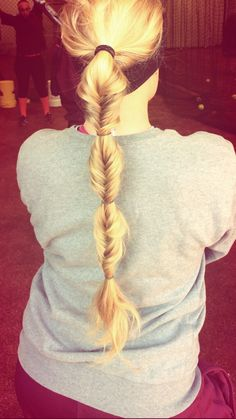 Softball Game Day Hair. Fish tail with 3 bubbles.