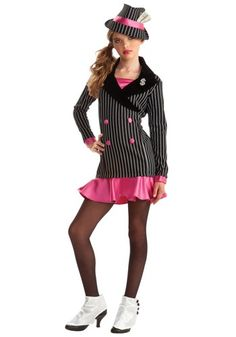 This will be my daughters Halloween outfit! Turn your teen into a mafia boss with this tween gangster girl costume! The teen girls gangster costume is a cute look inspired by the mob bosses of the Teen Girl Costumes, Costumes For Teens, Cute Costumes, Halloween Costumes For Girls, Dance Costumes, Costume Ideas, Halloween Ideas, Halloween Stuff, Dresses For Teens