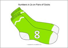 Numbers in 2s on pairs of socks (SB10225) - SparkleBox