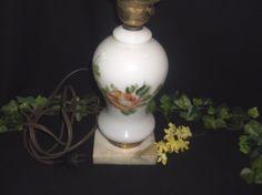 $14.96 or best offer Milk Glass Floral Lamp Electric Marble Base UL Vintage