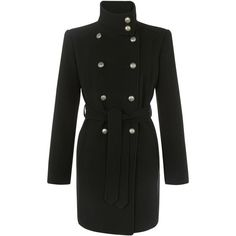 John Lewis Ella Button Detail Coat ($99) ❤ liked on Polyvore featuring outerwear, coats, black, jackets, military fashion, long sleeve coat, black coat, military style coat and black button coat