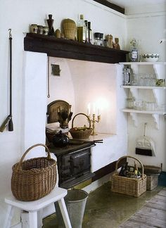 I love this country kitchen with its old stove and dark beams, from a Swedish cottage.and great shelves. Style Cottage, Swedish Cottage, White Cottage, Swedish House, Romantic Kitchen, Bohemian Kitchen, Rustic Kitchen, Nice Kitchen, Kitchen Ideas