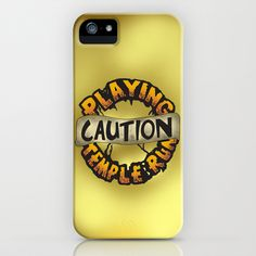 Temple Run iPhone & iPod Case by Musa Drammeh - $35.00 #apps #game #iphonecase #humour #illustration #art #design #typography #drawing #iphone #case #caution #templerun #fan #love #sale #buy