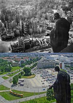 Dresden Germany, WWII and now. The bombing here during WWII was horrific.  Allied bombers and Dresden's people were all victim's of Hitler's madness!