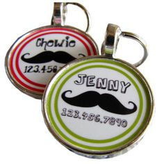 Share for $5 off your purchase of $40 or more!  Mustache Dog Tags for Pets