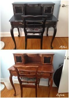 Desk Transformation with Black Pearl and Steel Gray Metallic Paints | Painted Furniture | Modern Masters Cafe Blog