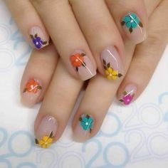 Looking for easy nail art ideas for short nails? Look no further here are are quick and easy nail art ideas for short nails. Flower Nail Designs, Flower Nail Art, Nail Art Designs, Fancy Nails, Pretty Nails, Spring Nails, Summer Nails, Nagel Gel, Stylish Nails