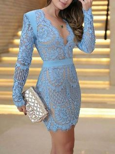 Eyelash Lace Overlay Plunge Neck Bodycon Dress trendiest dresses for any occasions, including wedding gowns, special event dresses, accessories and women clothing. Trend Fashion, Look Fashion, Fashion Outfits, Womens Fashion, Ladies Fashion, Fashion Spring, Fashion Ideas, Feminine Fashion, Fashion 2018