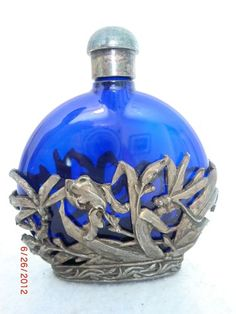 Antique Vintage Cobalt Silver Perfume Bottle Collectable |