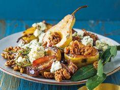 Peer-en-dadelslaai Chorizo, Salads, Cooking Recipes, Chicken, Ethnic Recipes, Food, Heart, Eten, Salad