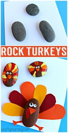 Decorate rocks like turkeys! Thanksgiving craft for kids to make! Art project | CraftyMorning.com